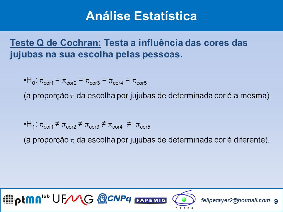 Análise Estatística Teste Q de Cochran: Testa a influência das cores das jujubas na sua escolha pelas pessoas.