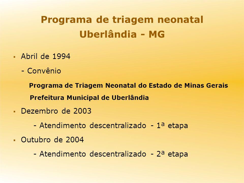 Programa de triagem neonatal Uberlândia - MG