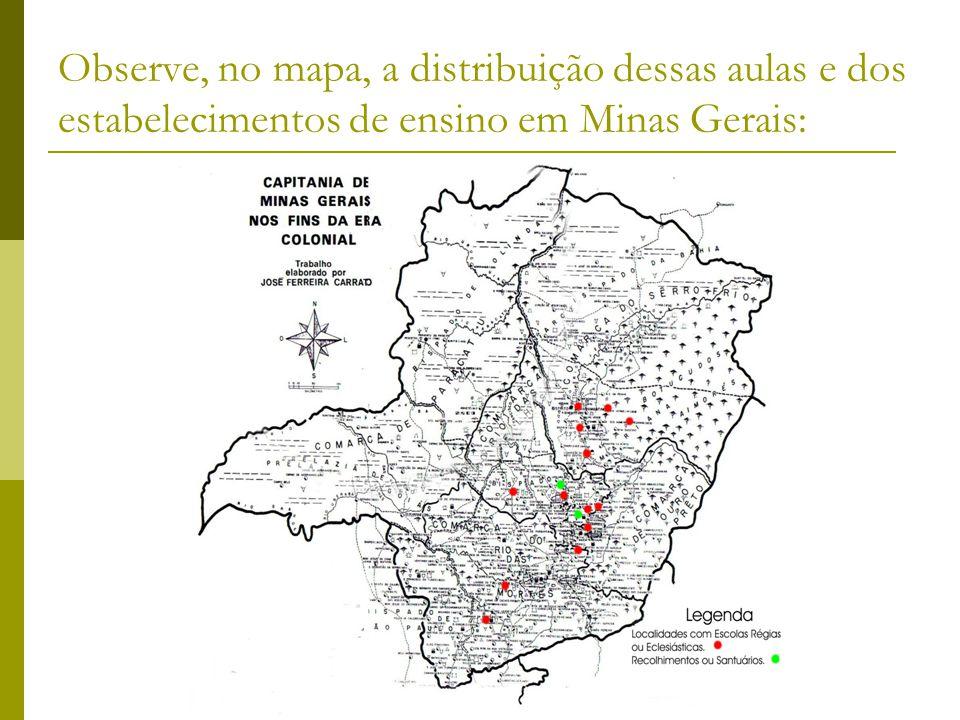 Observe, no mapa, a distribuição dessas aulas e dos estabelecimentos de ensino em Minas Gerais: