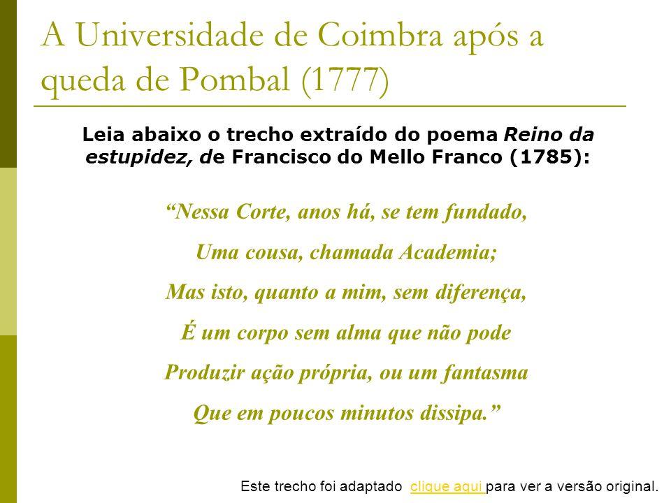 A Universidade de Coimbra após a queda de Pombal (1777)