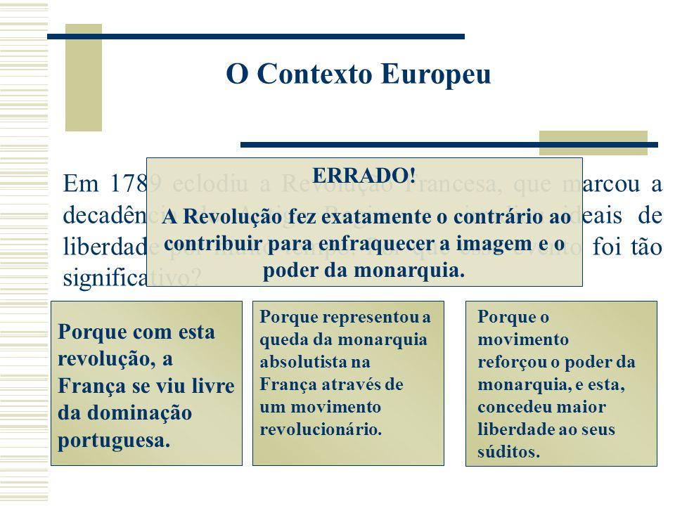 O Contexto Europeu ERRADO! A Revolução fez exatamente o contrário ao contribuir para enfraquecer a imagem e o poder da monarquia.