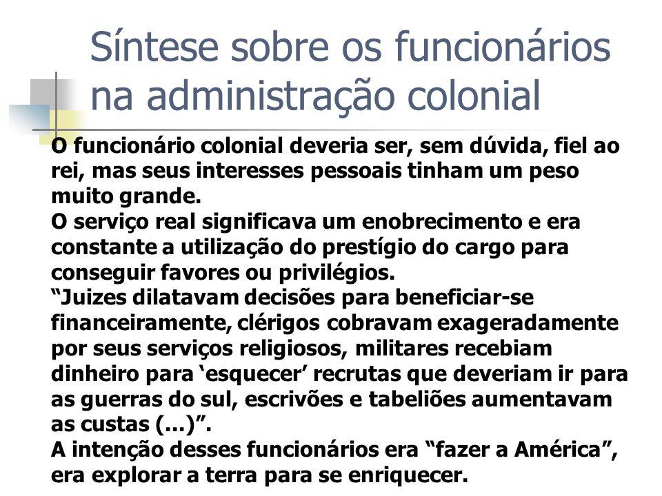 Síntese sobre os funcionários na administração colonial