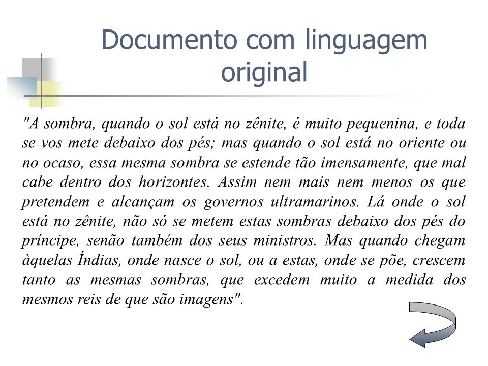 Documento com linguagem original