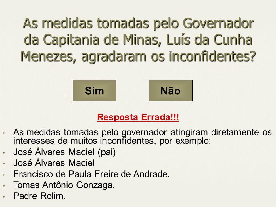 As medidas tomadas pelo Governador da Capitania de Minas, Luís da Cunha Menezes, agradaram os inconfidentes