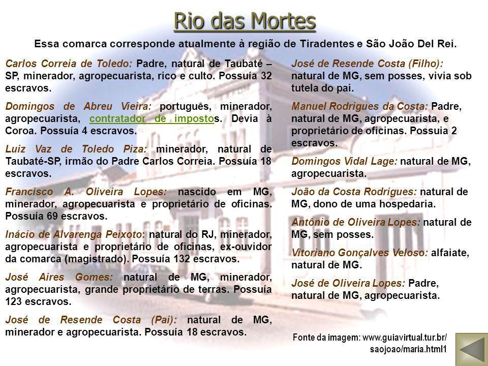 Rio das Mortes Essa comarca corresponde atualmente à região de Tiradentes e São João Del Rei.