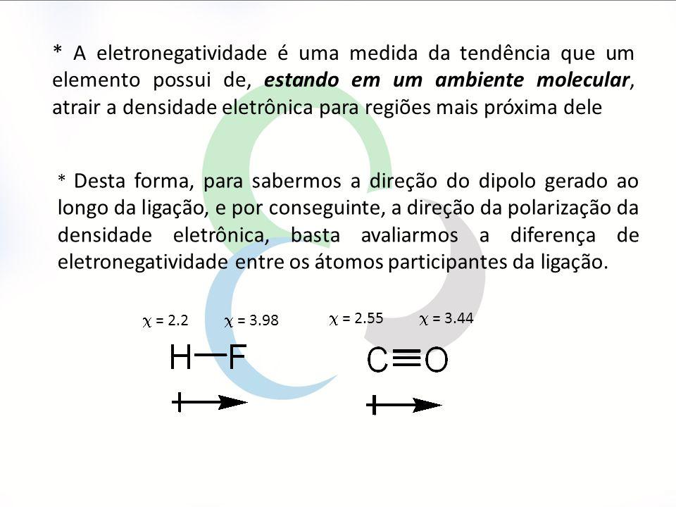* A eletronegatividade é uma medida da tendência que um elemento possui de, estando em um ambiente molecular, atrair a densidade eletrônica para regiões mais próxima dele