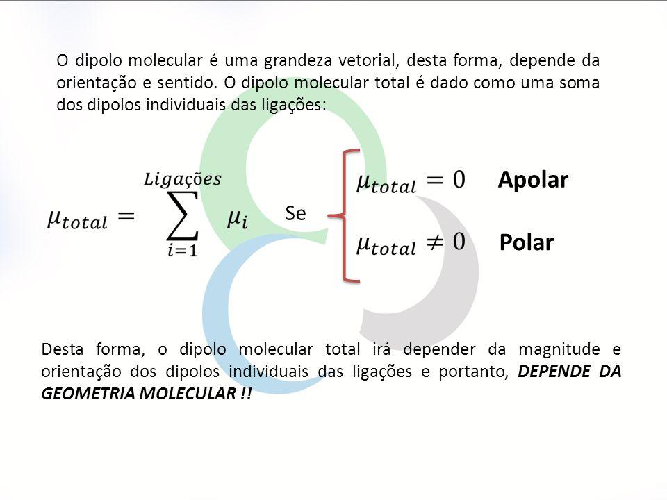 O dipolo molecular é uma grandeza vetorial, desta forma, depende da orientação e sentido. O dipolo molecular total é dado como uma soma dos dipolos individuais das ligações: