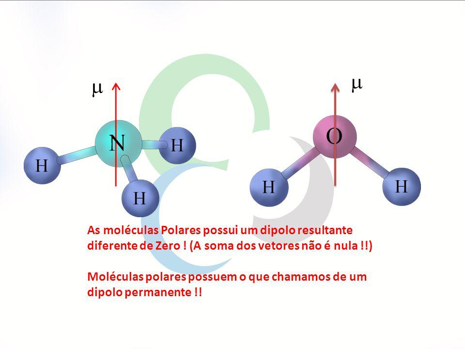 m m. As moléculas Polares possui um dipolo resultante diferente de Zero ! (A soma dos vetores não é nula !!)