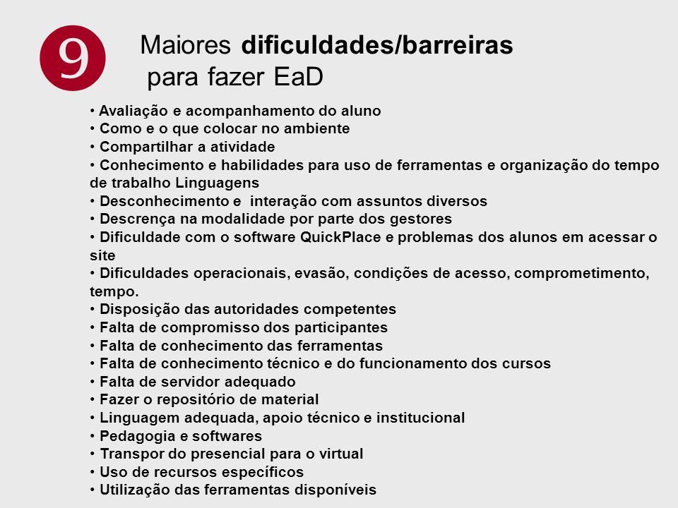  Maiores dificuldades/barreiras para fazer EaD