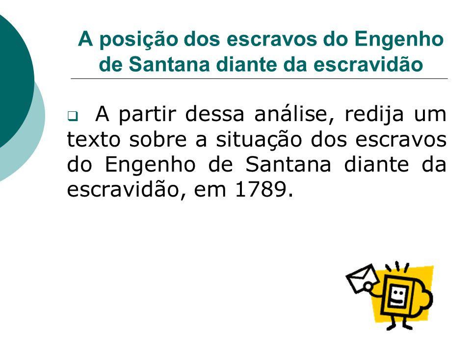 A posição dos escravos do Engenho de Santana diante da escravidão