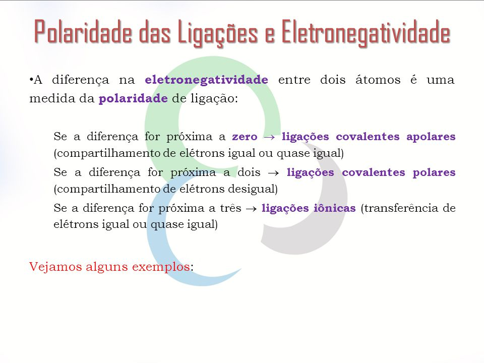 Polaridade das Ligações e Eletronegatividade