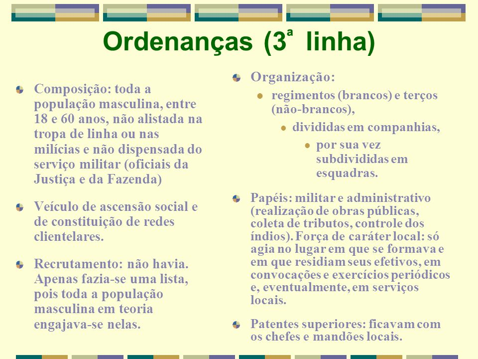 Ordenanças (3ª linha) Organização: