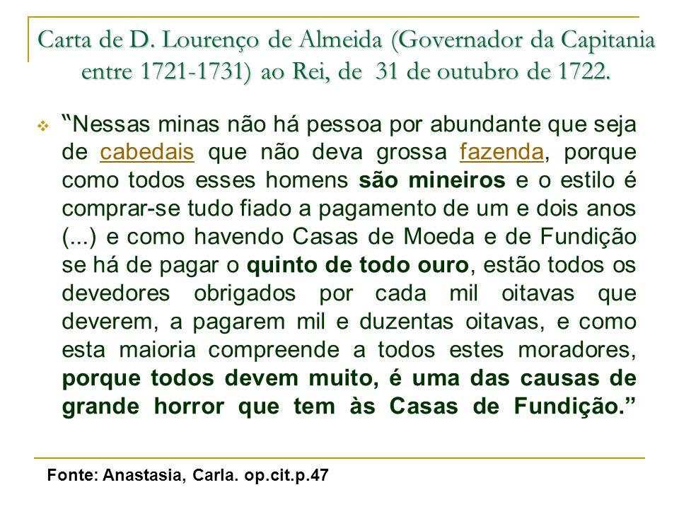 Carta de D. Lourenço de Almeida (Governador da Capitania entre 1721-1731) ao Rei, de 31 de outubro de 1722.