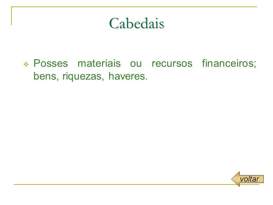 Cabedais Posses materiais ou recursos financeiros; bens, riquezas, haveres. voltar