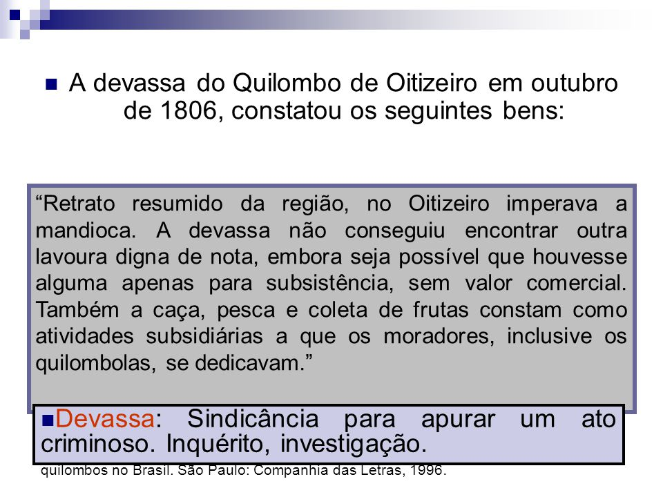 A devassa do Quilombo de Oitizeiro em outubro de 1806, constatou os seguintes bens: