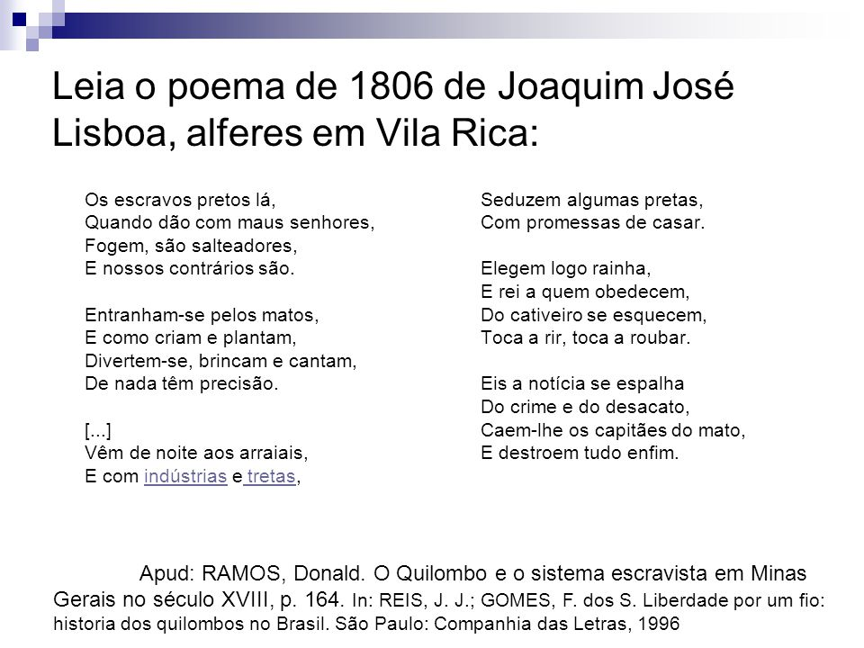 Leia o poema de 1806 de Joaquim José Lisboa, alferes em Vila Rica: