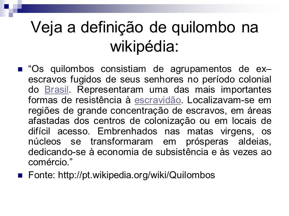 Veja a definição de quilombo na wikipédia: