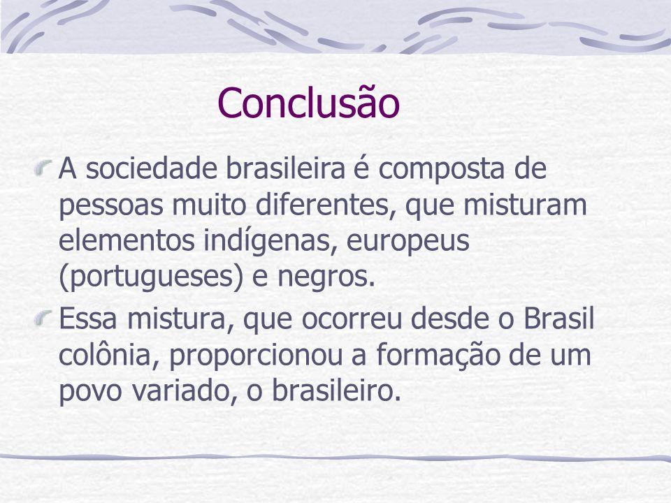 Conclusão A sociedade brasileira é composta de pessoas muito diferentes, que misturam elementos indígenas, europeus (portugueses) e negros.