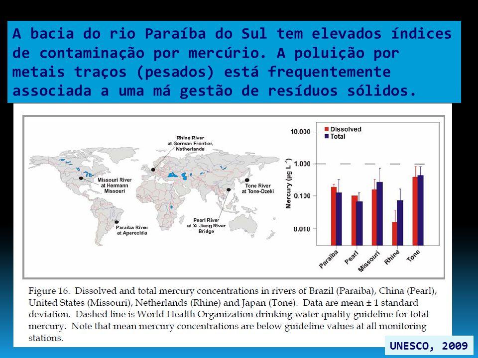 A bacia do rio Paraíba do Sul tem elevados índices de contaminação por mercúrio. A poluição por metais traços (pesados) está frequentemente associada a uma má gestão de resíduos sólidos.