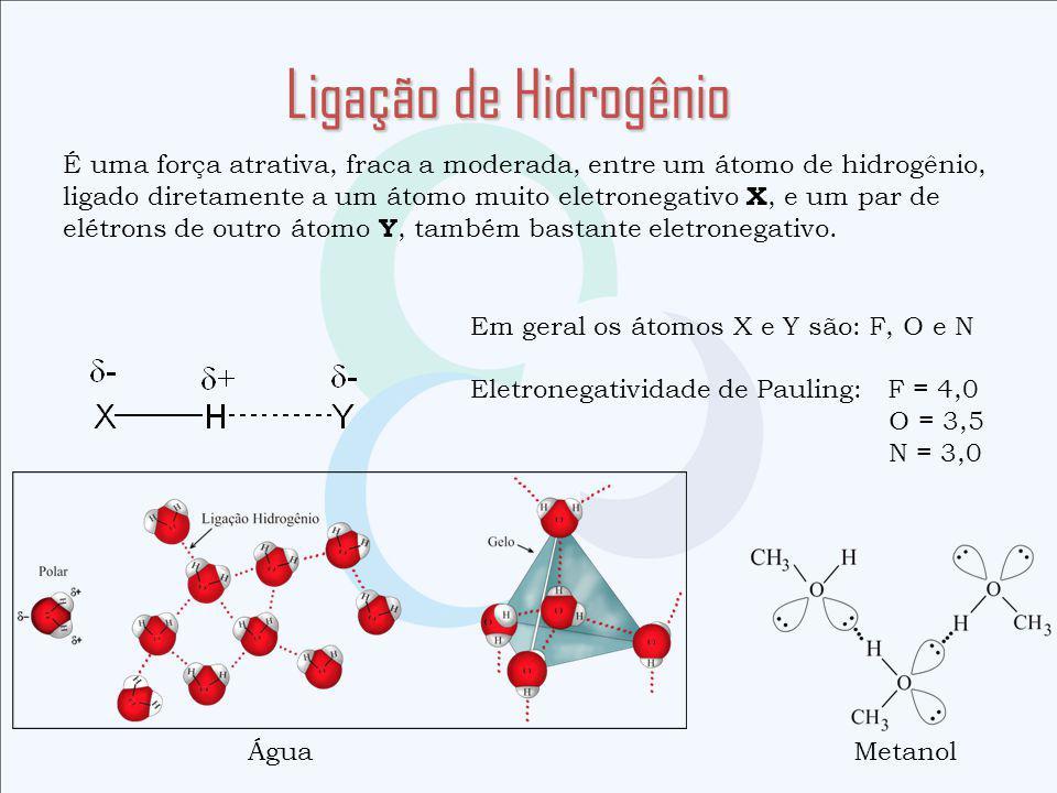 Ligação de Hidrogênio É uma força atrativa, fraca a moderada, entre um átomo de hidrogênio,