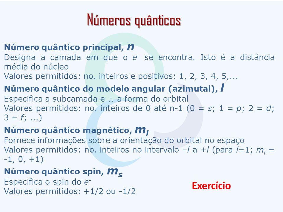 Números quânticos Exercício Número quântico principal, n