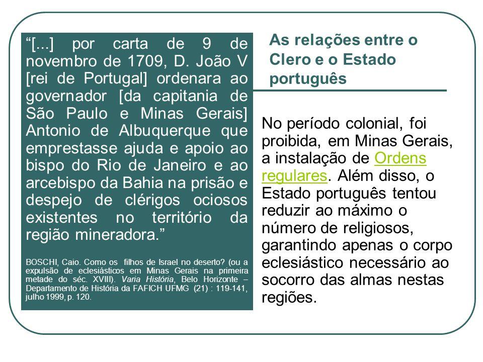 As relações entre o Clero e o Estado português
