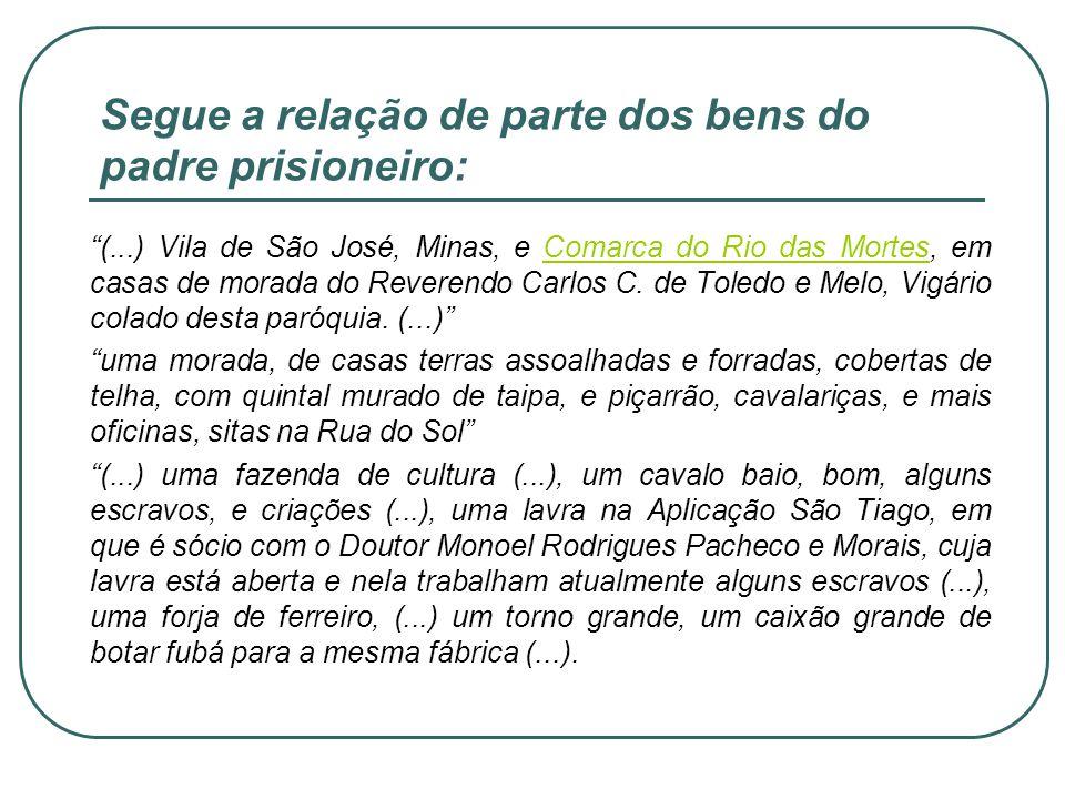 Segue a relação de parte dos bens do padre prisioneiro: