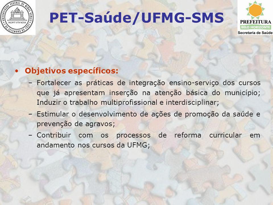 PET-Saúde/UFMG-SMS Objetivos específicos: