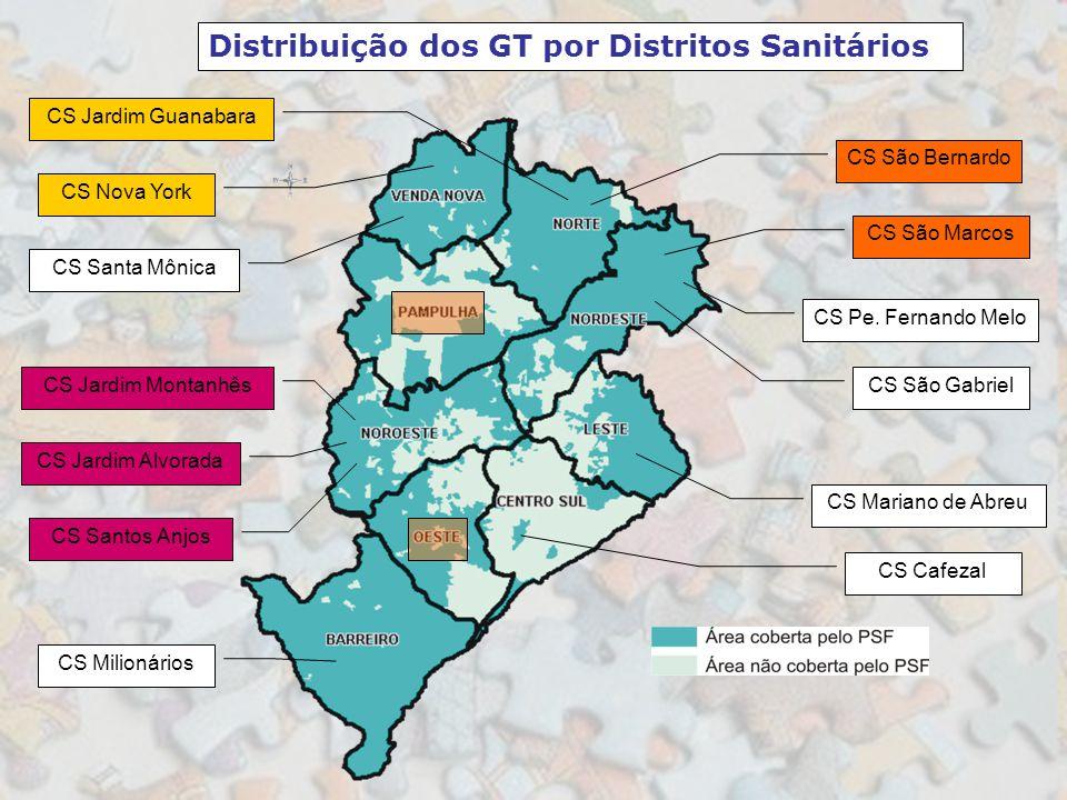 Distribuição dos GT por Distritos Sanitários