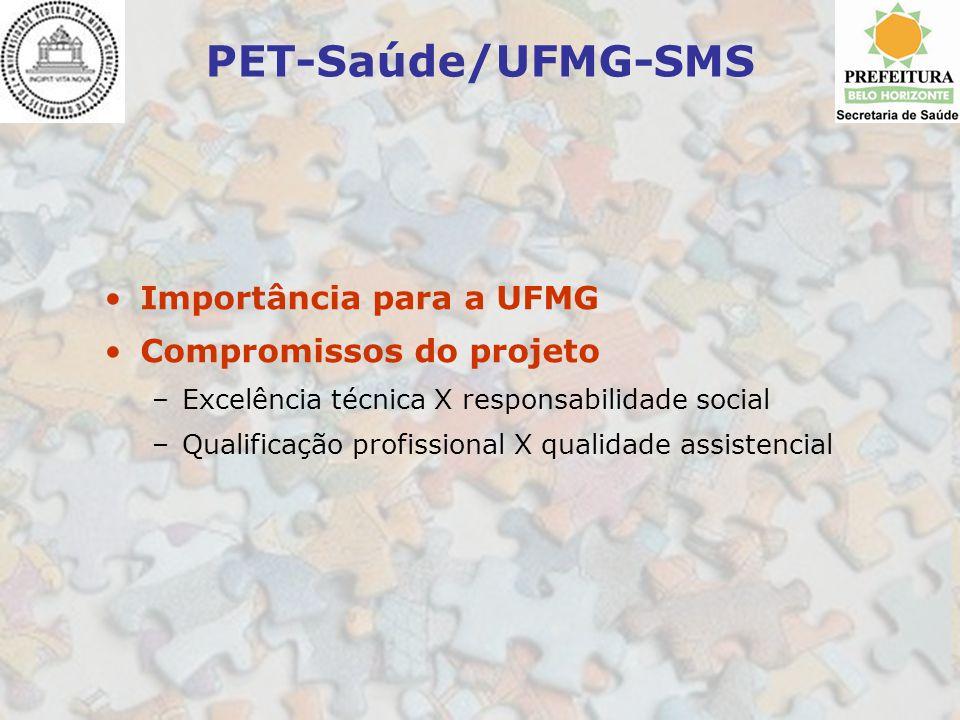 PET-Saúde/UFMG-SMS Importância para a UFMG Compromissos do projeto