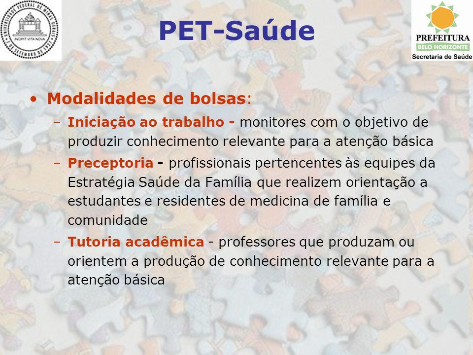 PET-Saúde Modalidades de bolsas: