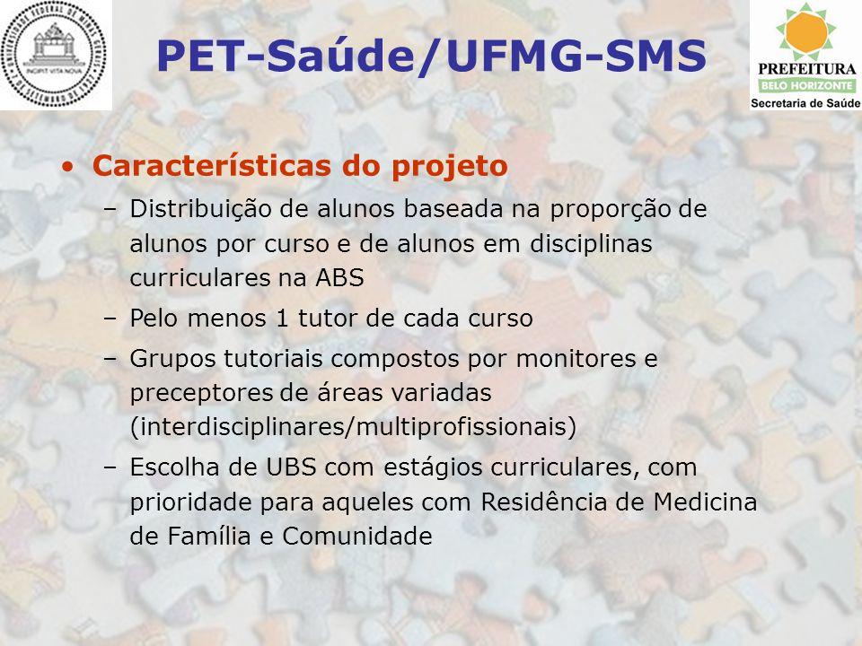 PET-Saúde/UFMG-SMS Características do projeto
