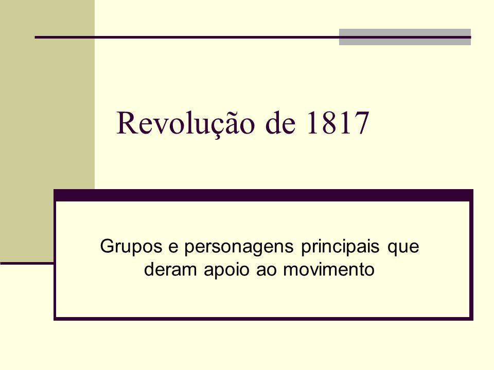 Grupos e personagens principais que deram apoio ao movimento