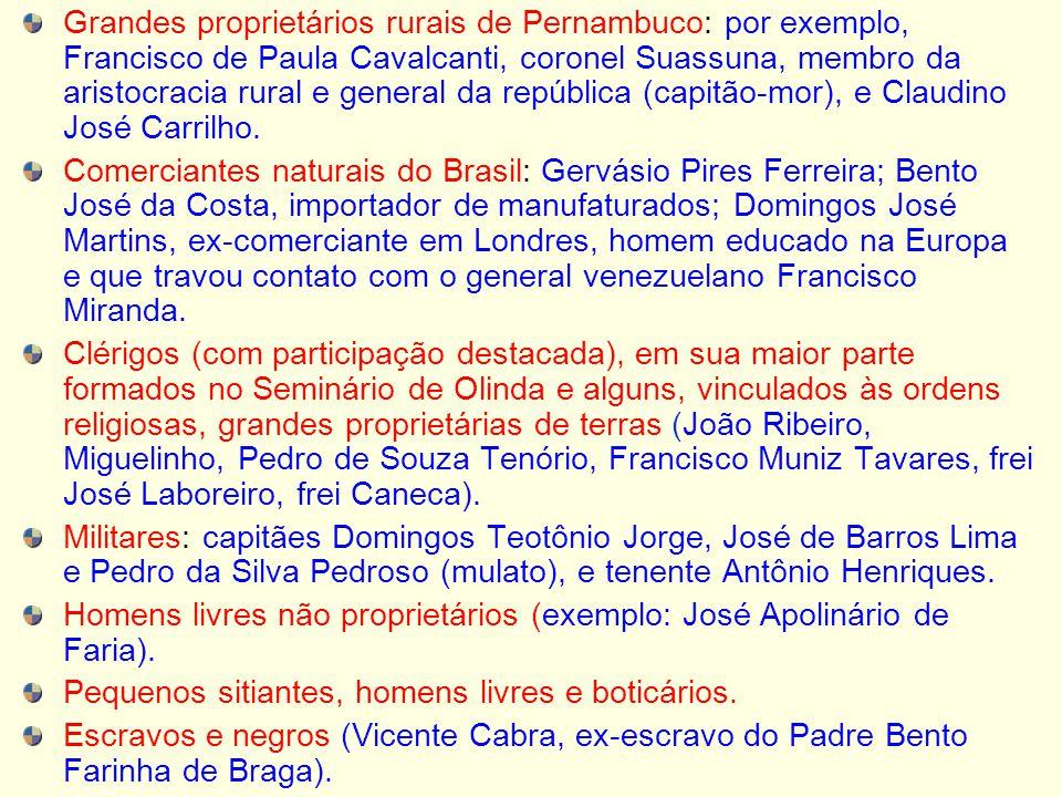 Grandes proprietários rurais de Pernambuco: por exemplo, Francisco de Paula Cavalcanti, coronel Suassuna, membro da aristocracia rural e general da república (capitão-mor), e Claudino José Carrilho.