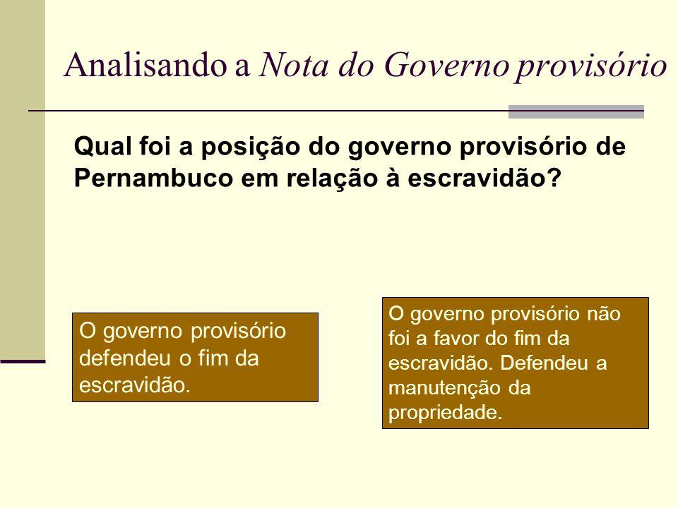 Analisando a Nota do Governo provisório