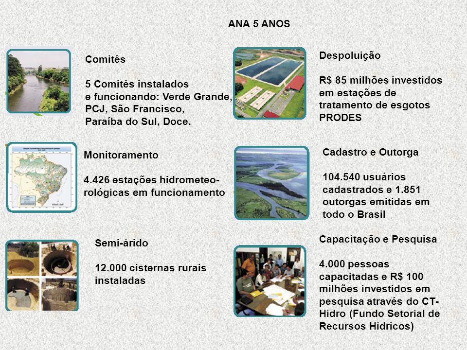 ANA 5 ANOS Despoluição. R$ 85 milhões investidos. em estações de tratamento de esgotos. PRODES. Comitês.