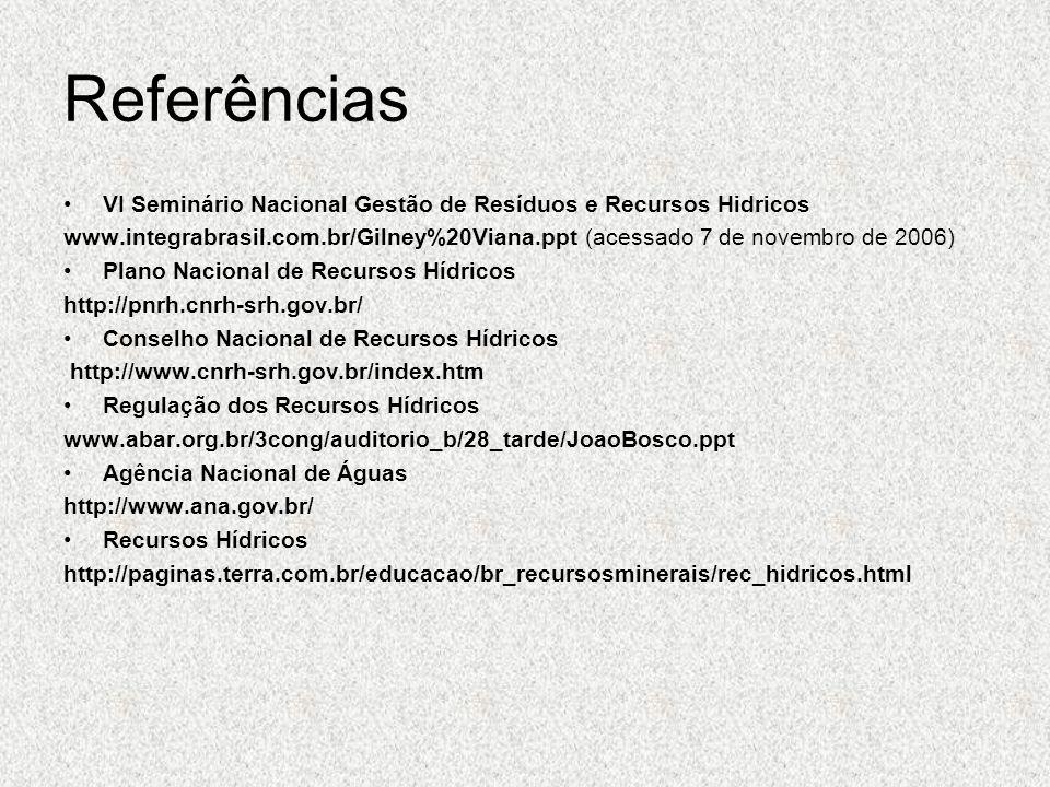 Referências VI Seminário Nacional Gestão de Resíduos e Recursos Hidricos.