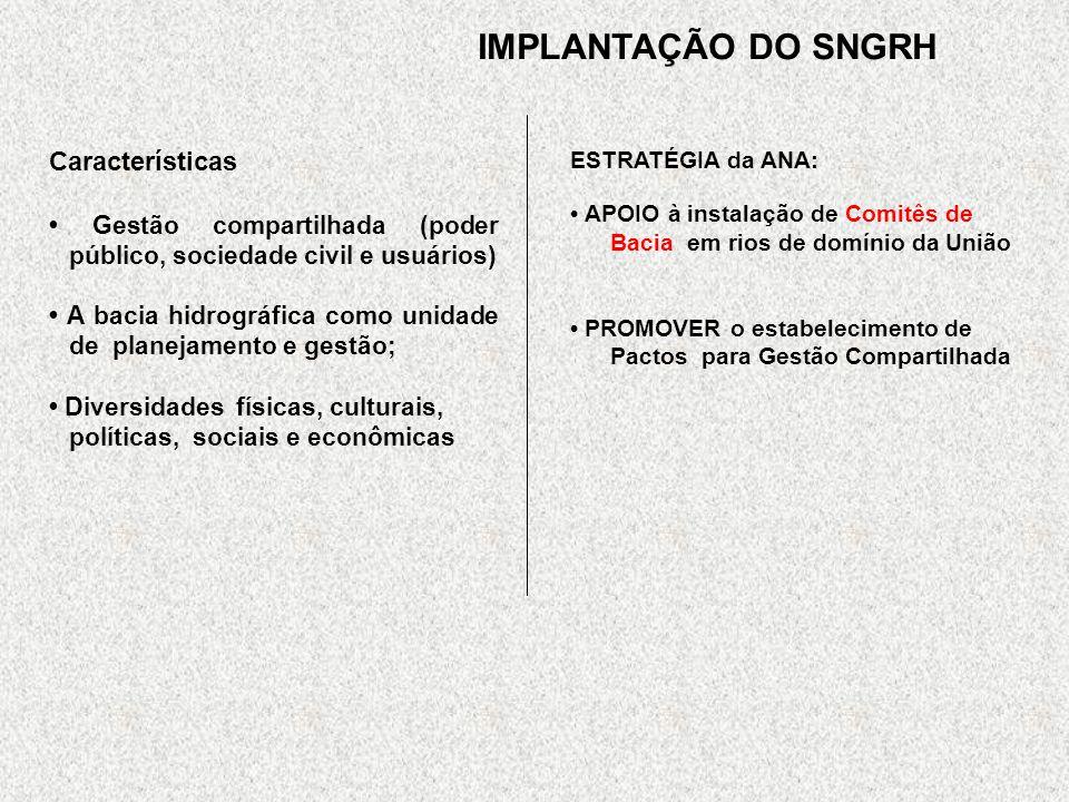 IMPLANTAÇÃO DO SNGRH Características