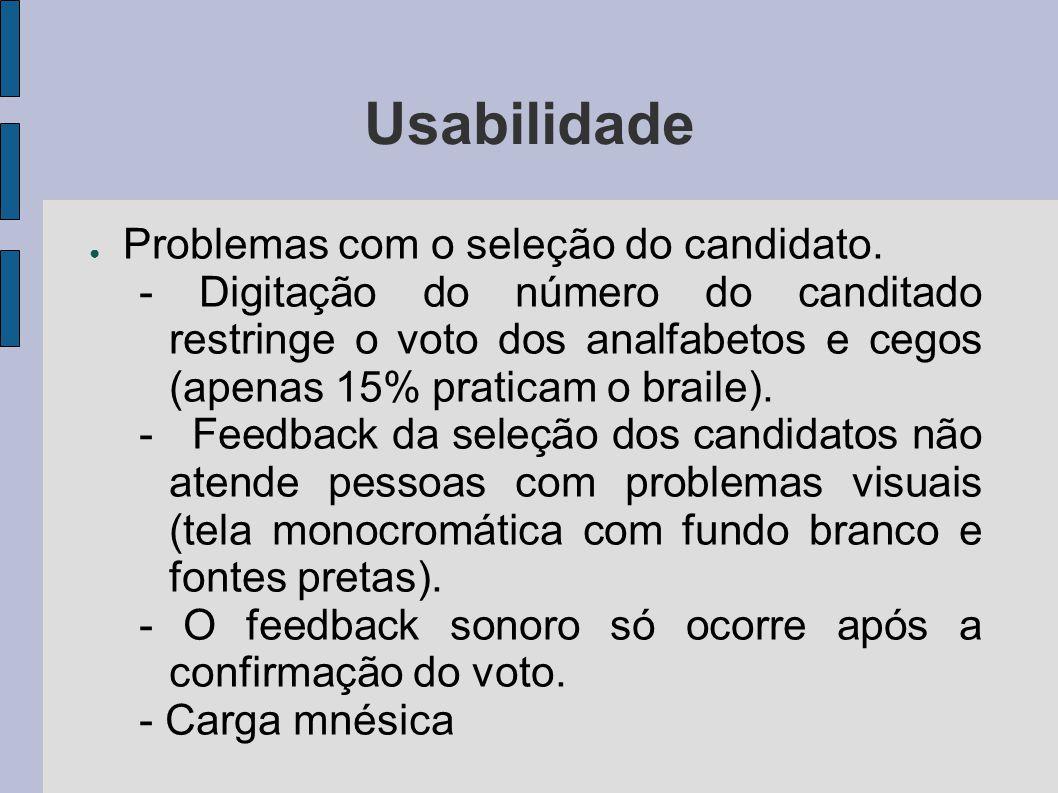 Usabilidade Problemas com o seleção do candidato.