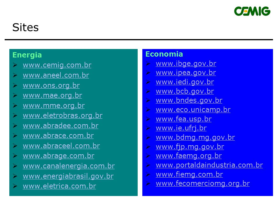 Sites Energia www.cemig.com.br www.aneel.com.br www.ons.org.br