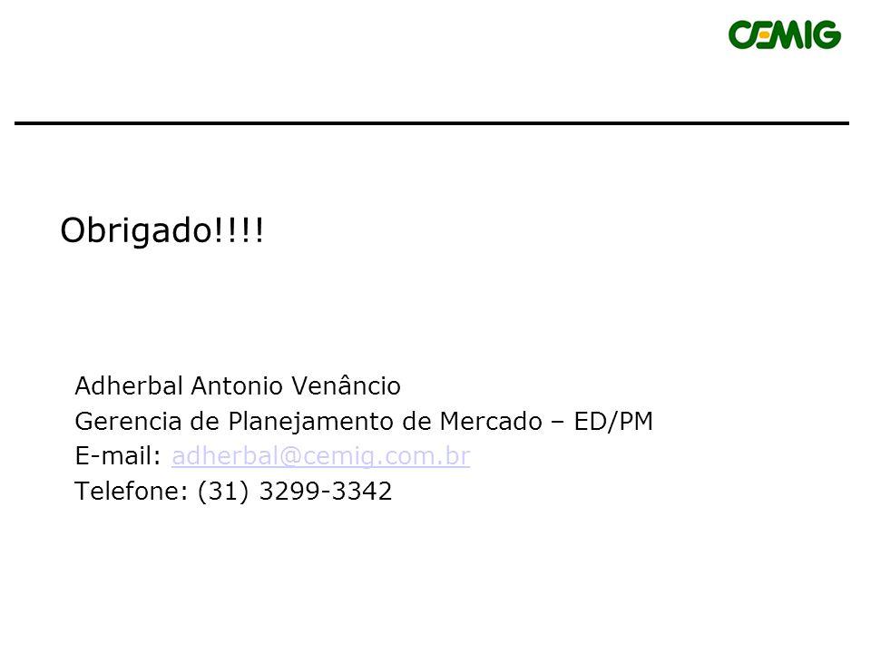 Obrigado!!!! Adherbal Antonio Venâncio