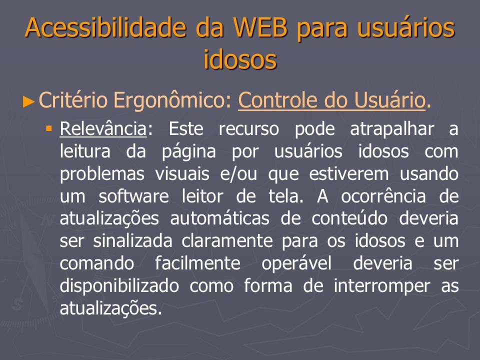 Acessibilidade da WEB para usuários idosos