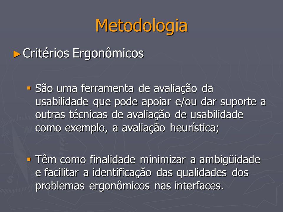 Metodologia Critérios Ergonômicos