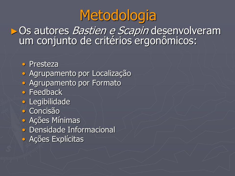 Metodologia Os autores Bastien e Scapin desenvolveram um conjunto de critérios ergonômicos: Presteza.