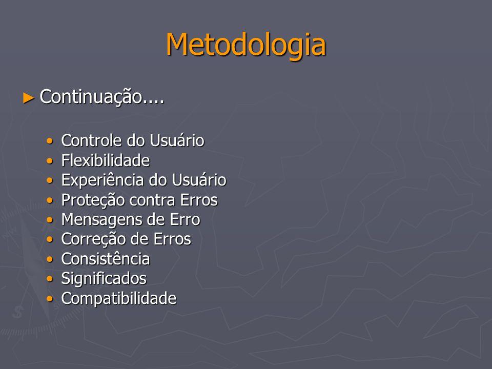 Metodologia Continuação.... Controle do Usuário Flexibilidade