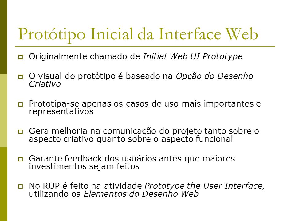 Protótipo Inicial da Interface Web