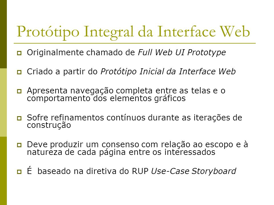 Protótipo Integral da Interface Web