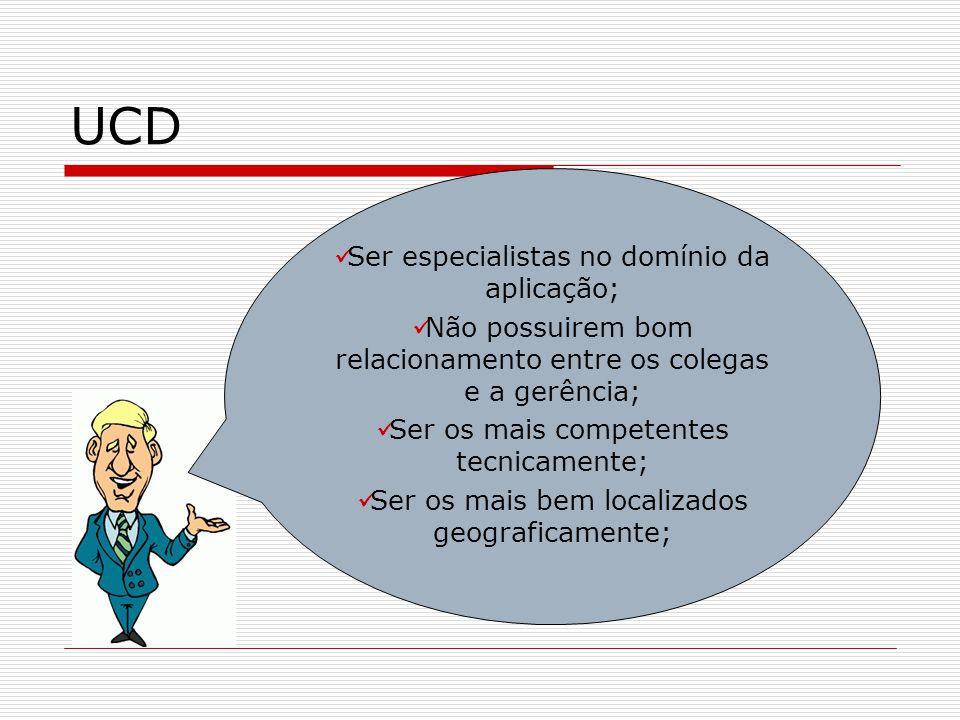 UCD Ser especialistas no domínio da aplicação;