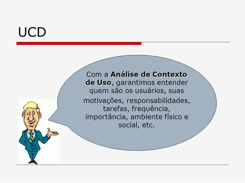 UCD Com a Análise de Contexto de Uso, garantimos entender quem são os usuários, suas.