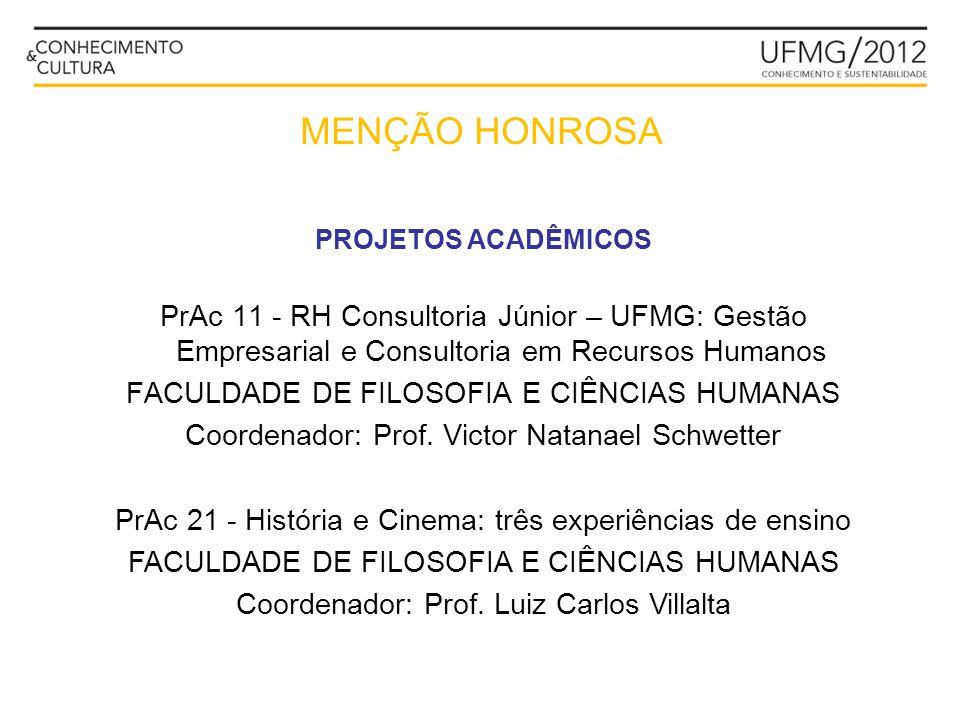 MENÇÃO HONROSA PROJETOS ACADÊMICOS. PrAc 11 - RH Consultoria Júnior – UFMG: Gestão Empresarial e Consultoria em Recursos Humanos.